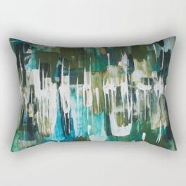 Acrylic Blue, Green and Gold Abstract Painting Rectangular Pillow