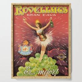 vintage placard rovellats champagne gran cava es Serving Tray