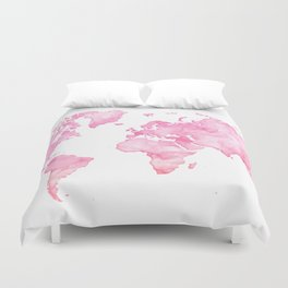 Pink watercolor world map Duvet Cover