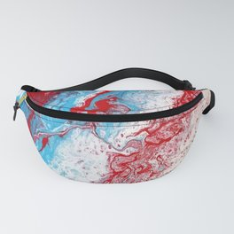 Marble Red Blue Paint Splatter Abstract Painting by Jodilynpaintings Red Fanny Pack