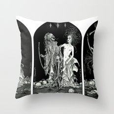 Death and the Maiden Triptych Throw Pillow
