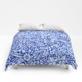 Flower Field Blue and White Comforters