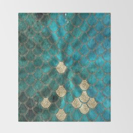 Multicolor Aqua And Gold Mermaid Scales -  Beautiful Abstract Pattern Throw Blanket