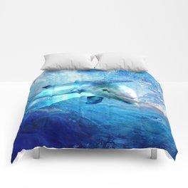 Watercolor Dolphin  Digital Art Comforters