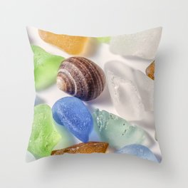 Tiny sea shell and Beach Glass Throw Pillow