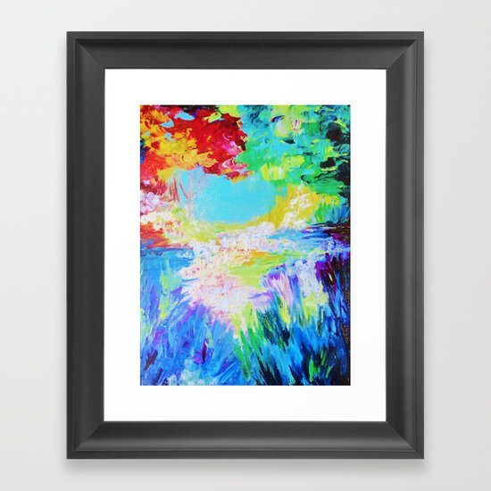 IN DREAMS - Gorgeous Bold Colors, Abstract Acrylic Idyllic Forest Landscape Secret Garden Painting Framed Art Print