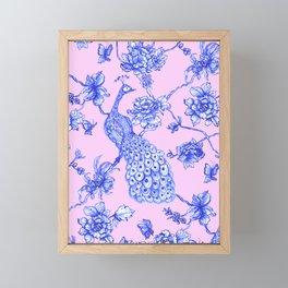 Chinoiserie Peacock Blush Pink Framed Mini Art Print