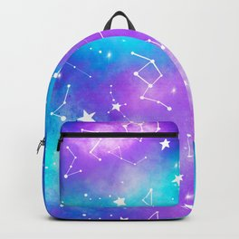 Modern nebula ultra violet watercolor hand painted white constellation stars universe small pattern Backpack