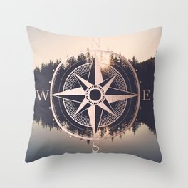 Rose Gold Compass Forest Throw Pillow