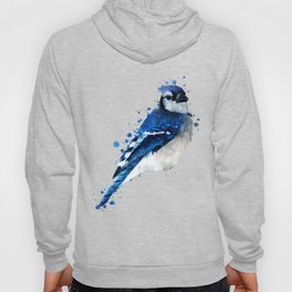 Watercolor blue jay bird Hoody