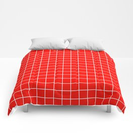 Candy apple red - red color - White Lines Grid Pattern Comforters