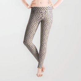 Handdrawn Geometric Pattern Grape on Cream Leggings