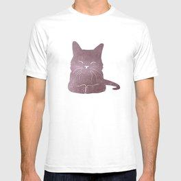 Happy purple cat illustration on pink for girls T-shirt