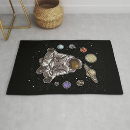 Yoga Astronaut Meditates In Space And feels The Galaxy Rug
