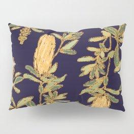 Banksia on Indigo Blue Botanical Illustration Pillow Sham