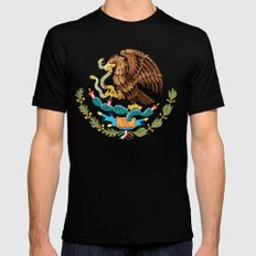 Coat of Arms & Seal  of Mexico on white  Black Mens Fitted Tee X-LARGE
