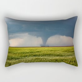 Behind the Scene - Large Tornado Passes Safely Behind a Farmhouse in Kansas Rectangular Pillow