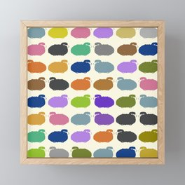 Colorful cartoon sheep pattern Framed Mini Art Print