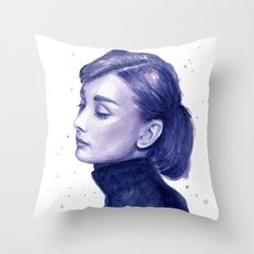 Audrey Hepburn Watercolor Portrait Throw Pillow