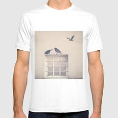 Let me be a bird in your window - vintage retro, beige cream, urban, black and white photography Mens Fitted Tee White MEDIUM