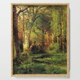 Forest Scene 1870 By Thomas Moran | Dense Woods Watercolor Reproduction Serving Tray