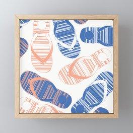 Blue Flip Flops Framed Mini Art Print