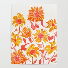 Sunflower Watercolor – Fiery Palette Poster
