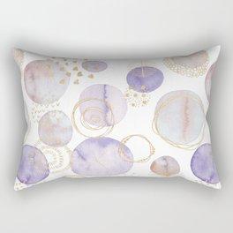 Watercolour Circles   Lavender, Gold & Lilac Palette Rectangular Pillow