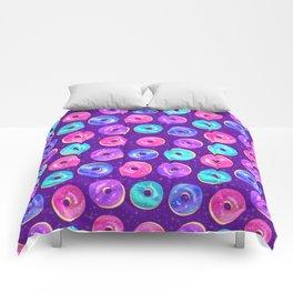 Galaxy Donuts on Purple Comforters