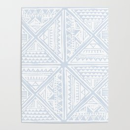 Simply Tribal Tile in Sky Blue on Lunar Gray Poster