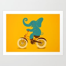 Elephant on the bike Art Print