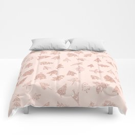 Modern rose gold glitter Christmas trees pattern on blush pink Comforters