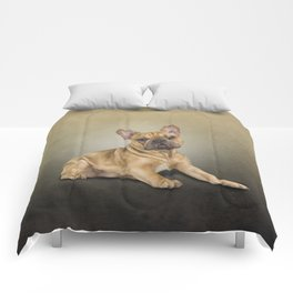 Drawing dog French Bulldog Comforters