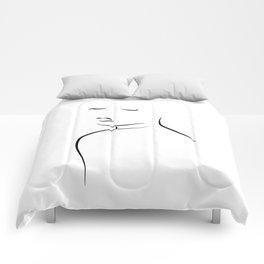 Minimal Lady Drawing - Kiss Me Cora Comforters