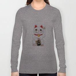 Maneki-Neko Lucky Charm Japanese Cat Long Sleeve T-shirt