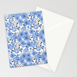 Blue flowers pattern 4 Stationery Cards