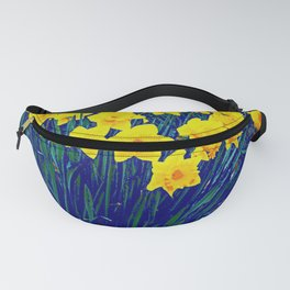 BLUE-PURPLE GARDEN OF YELLOW SPRING DAFFODILS Fanny Pack