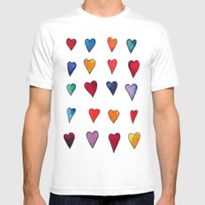 Multiple HEARTS MEDIUM Mens Fitted Tee White