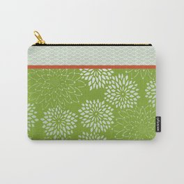Dahlia Scallops Green and Orange Carry-All Pouch