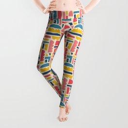 Kids Shapes Collage Blue Pink Yellow Leggings