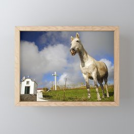 Horse and chapel Framed Mini Art Print