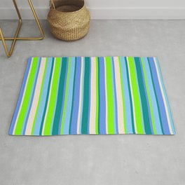 Eye-catching Chartreuse, Light Sky Blue, Dark Cyan, Cornflower Blue, and Beige Colored Lines Pattern Rug