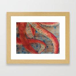 """Oscar the Octopus"" 2/3 - Hand Painted on Wood Framed Art Print"