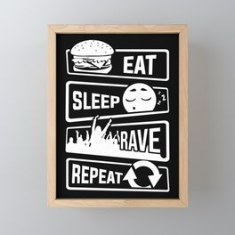 Eat Sleep Rave Repeat - Party Electro Music Event Framed Mini Art Print