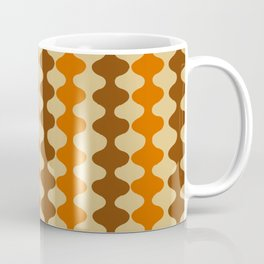 Orange and Brown Retro Mid Century Psychedelic Wavy Stripe Pattern Coffee Mug