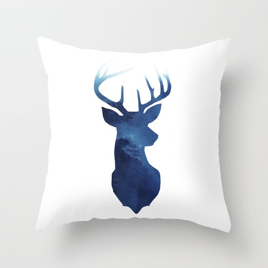 Stag + Blue Throw Pillow