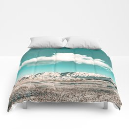 Vintage Desert Snow Cloud // Scenic Desert Landscape in Winter Fluffy Clouds Snow Mountains Cacti Comforters