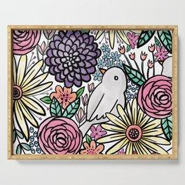 Flowers, Birds & A Heart Serving Tray