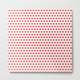 Polka / Dots - White / Red - Medium Metal Print