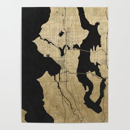 Seattle Black and Gold Street Map Poster